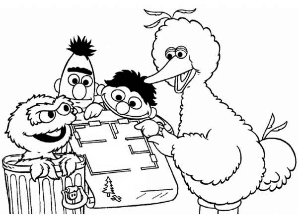 Sesame Street, : Sesame Street Playing Maze Coloring Page