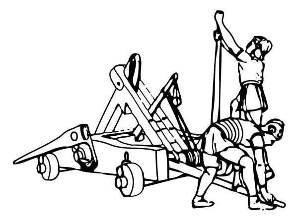 Middle Ages, : Setting a Trebuchet at War in Middle Ages Coloring Page