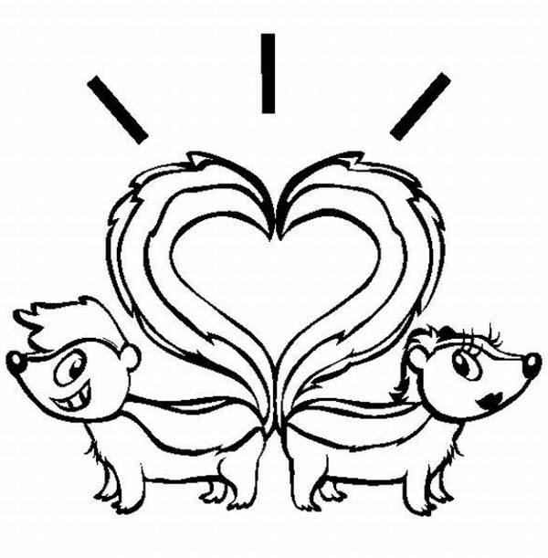 Skunk, : Skunk Tail Heart Shaped Coloring Page