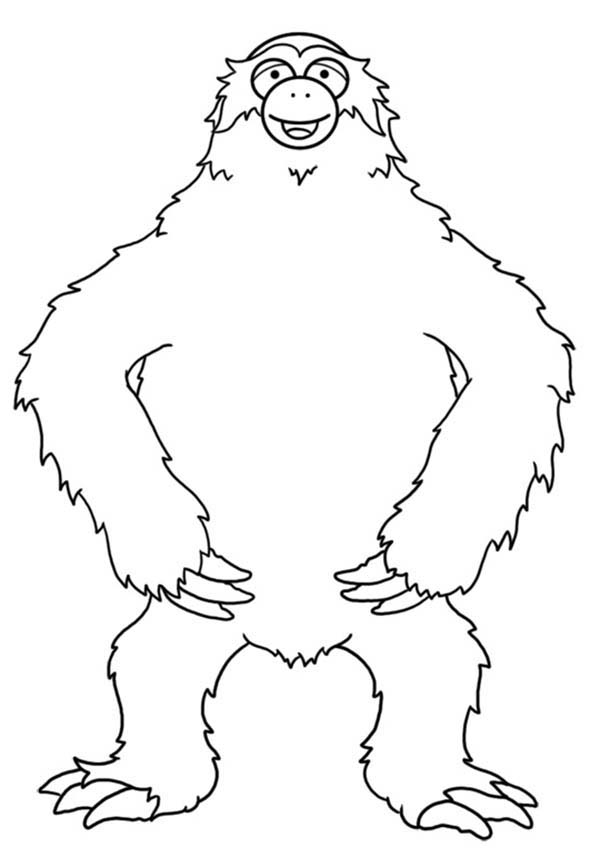 Sloth, : Sloth Standing Tall Coloring Page