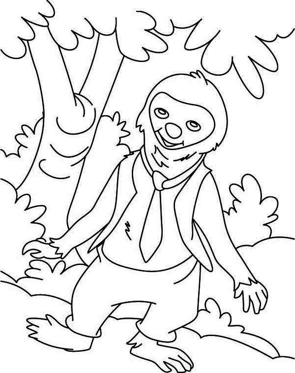 Sloth, : Sloth Wearing Tie Coloring Page