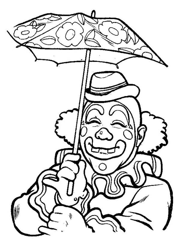 Smiling Clown Under Umbrella Coloring Page | Color Luna