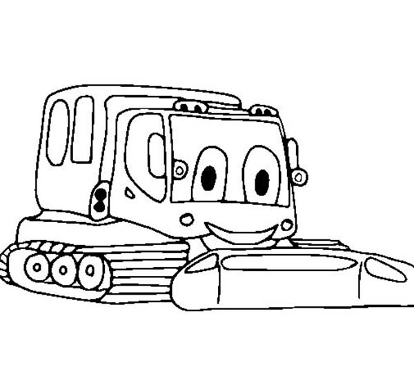 Digger, : Smiling Digger Tractor Coloring Page
