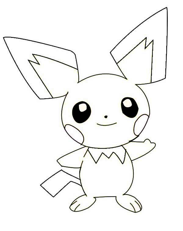 Smiling pichu coloring page color luna for Pichu coloring pages