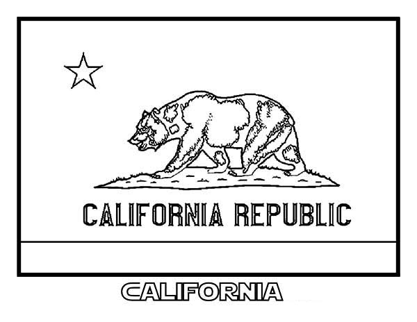 State Flag, : State Flag of California Coloring Page
