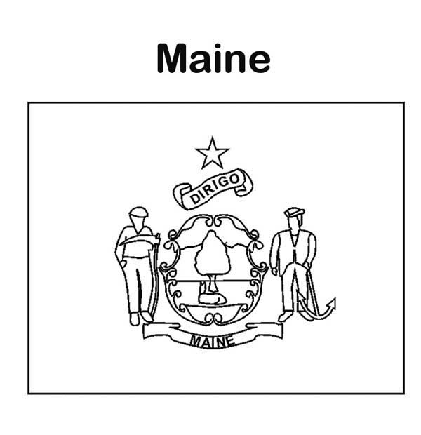 state flag of maine coloring page