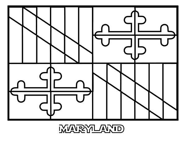 State Flag, : State Flag of Maryland Coloring Page