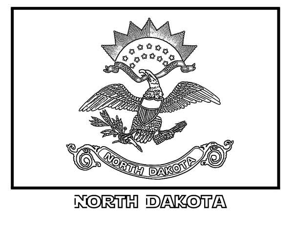 State Flag, : State Flag of North Dakota Coloring Page