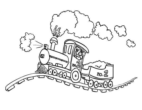 Railroad, : Steam Locomotive on Bumpy Railroad Coloring Page