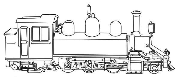 Trains, : Steam Train Coloring Page for Kids