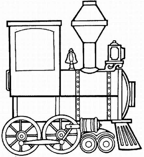 Trains, : Steam Train Locomotive Coloring Page
