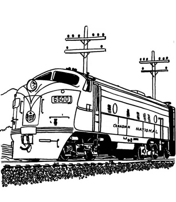 railroad streamlined diesel engine train on railroad coloring page