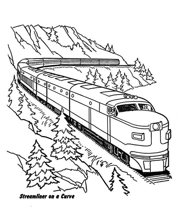 Trains, : Streamliner Train on a Curve Coloring Page