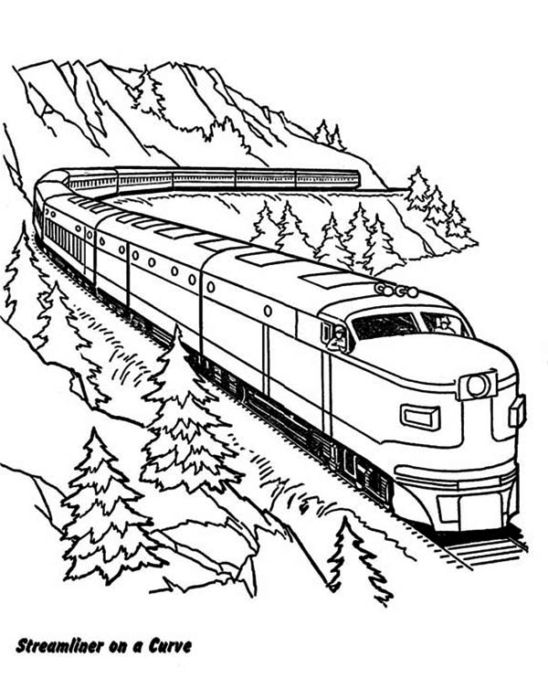 Railroad, : Streamliner on a Curve Railroad Coloring Page