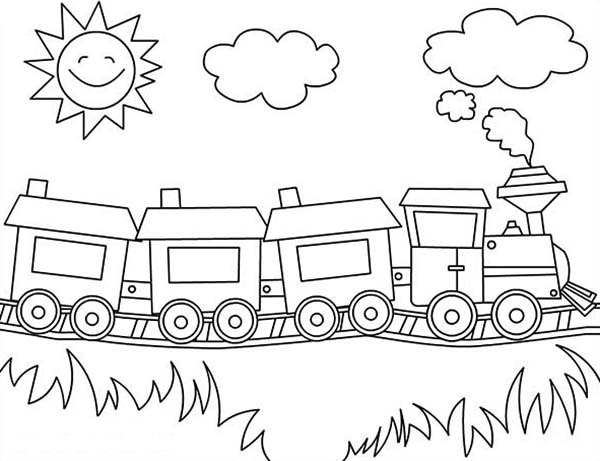 Trains, : Sun is Smiling Over a Train Coloring Page