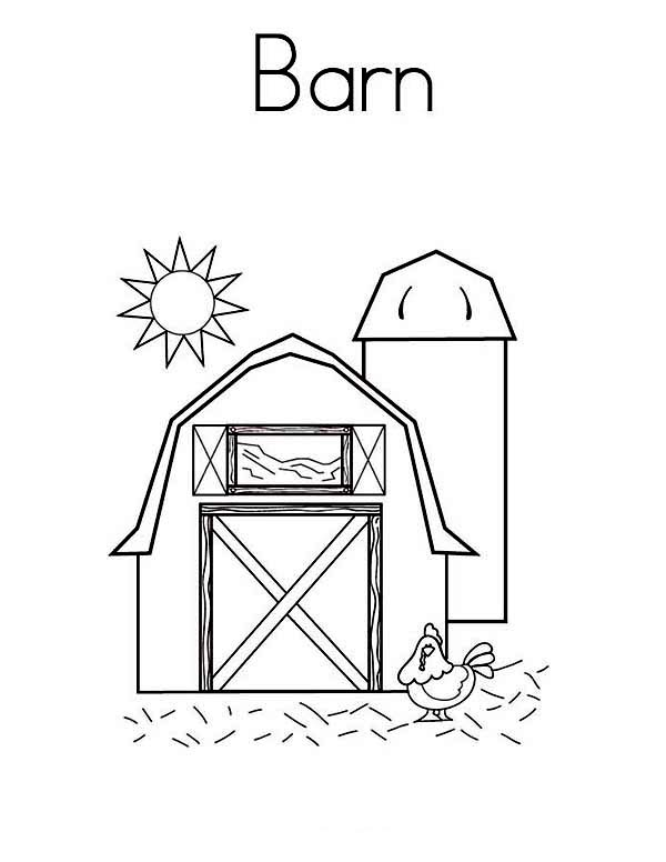 Barn, : Sunshine Over a Barn Coloring Page