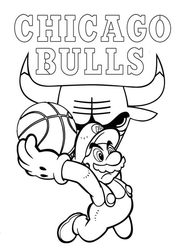 Super Mario Playing for NBA Chicago Bulls Coloring Page | Color Luna