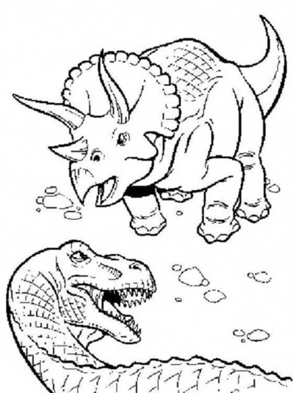 T-Rex, : T Rex Fighting with Triceratops Coloring Page