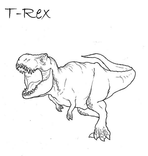 t rex going to bite you coloring page