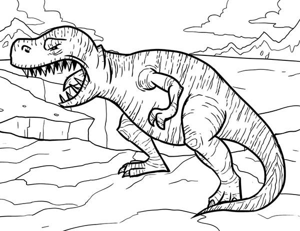 T-Rex, : T Rex Opening His Mouth Wide Coloring Page