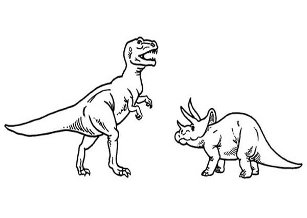 T-Rex-Versus-Triceratops-Coloring-Page