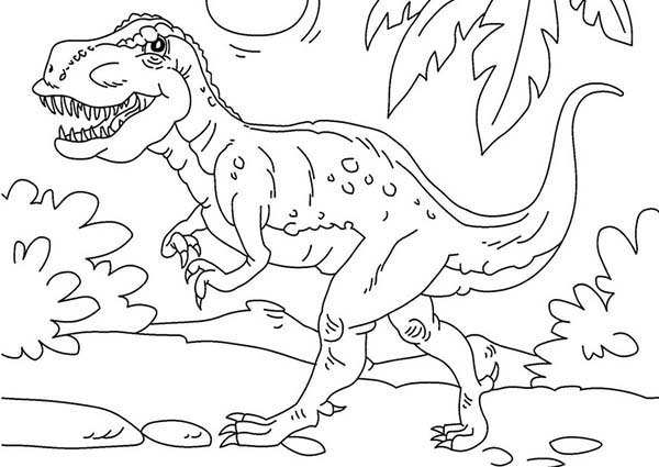 T-Rex, : T Rex is Very Strong Dinosaurus Coloring Page