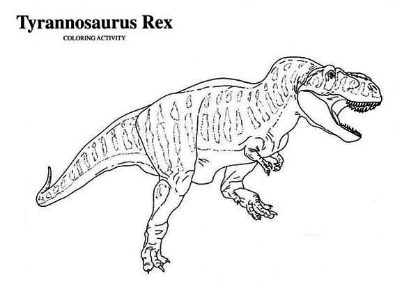 t rex is for tyrannosaurus coloring page