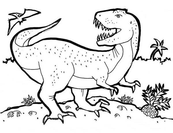 print t is for t rex coloring page in full size - T Rex Coloring Pages
