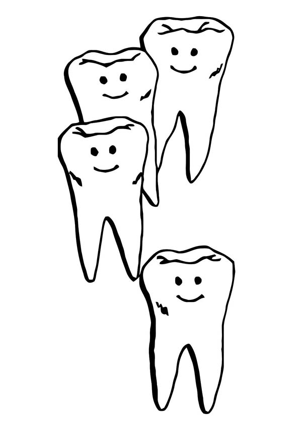 Dental Health, : Teeth Walking in Line in Dental Health Coloring Page