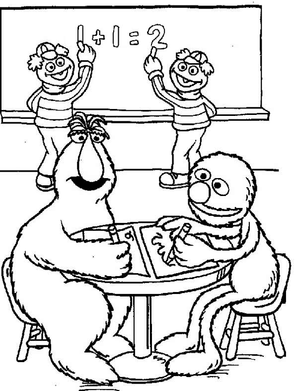 sesame street telly monster and grover learnig math in sesame street coloring page