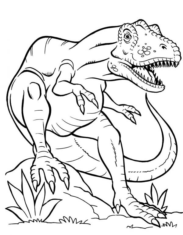 terrifying dinosaurus t rex coloring page color