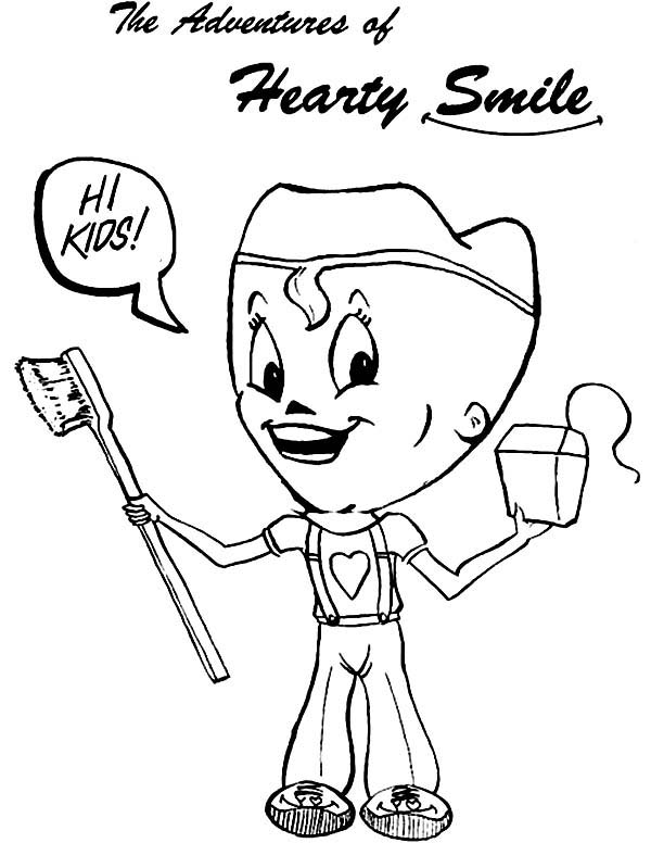 Dental Health, : The Adventure of Heartly Smile in Dental Health Coloring Page