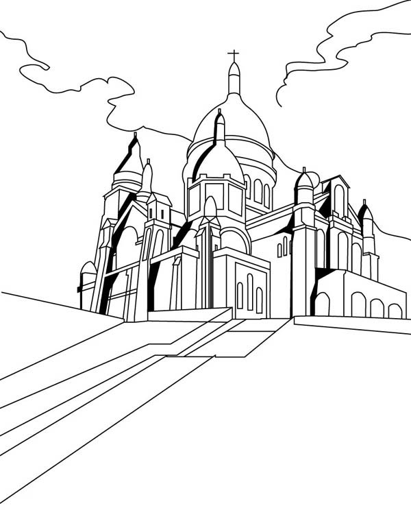Middle Ages, : The Basilica of the Sacred Heart of Paris in Middle Ages Coloring Page