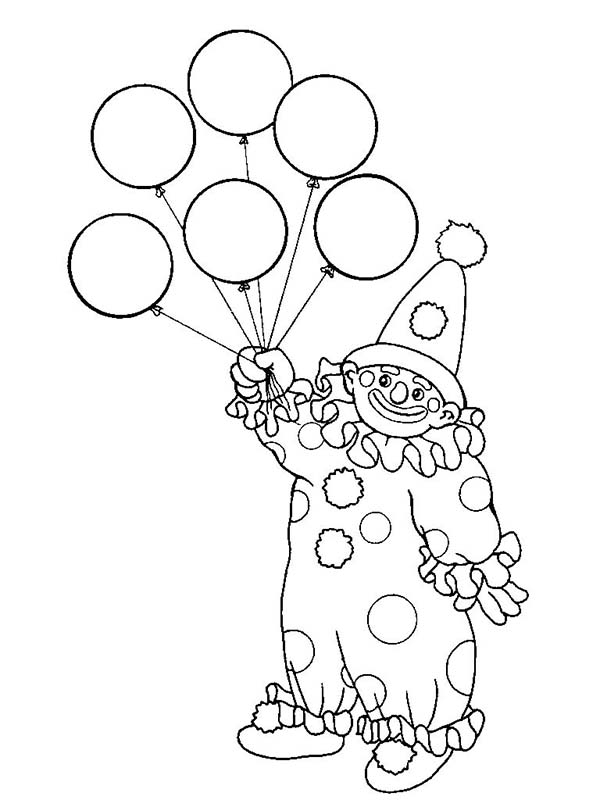 Clown, : The Clown Has Six Balloon Coloring Page