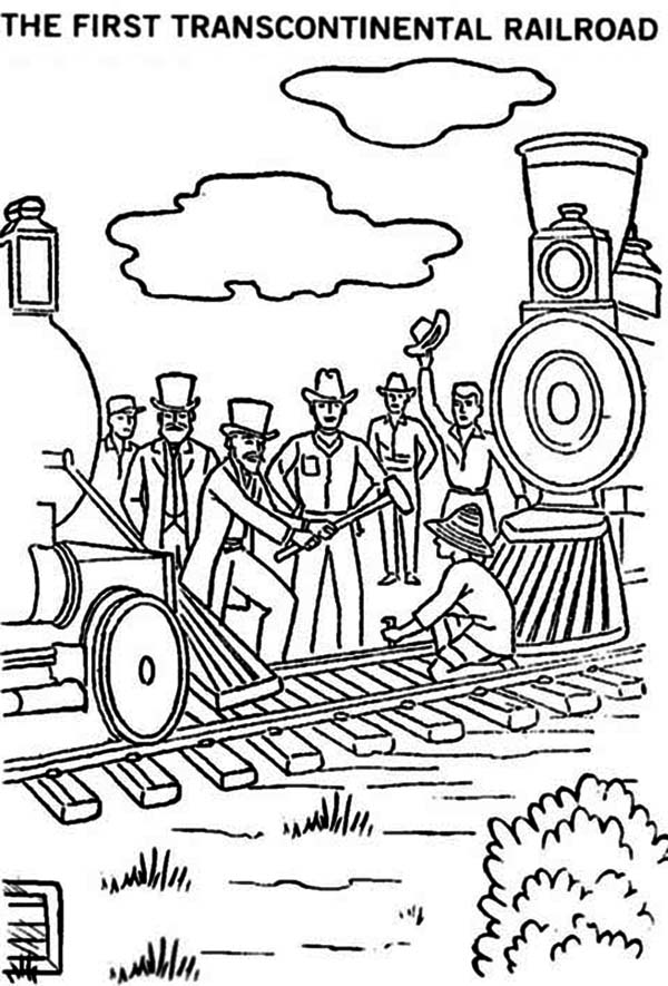 Railroad, : The First Transcontinental Railroad Coloring Page