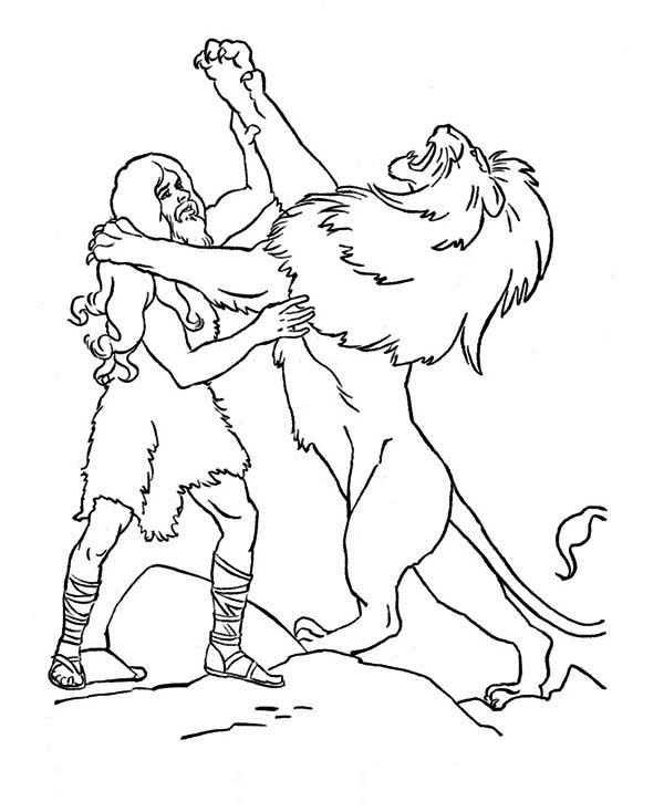 Samson, : The Legendary Fight Samson with a Lion Coloring Page