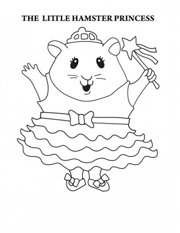 The Little Hamster Princess in Guinea Pig Coloring Page | Color Luna