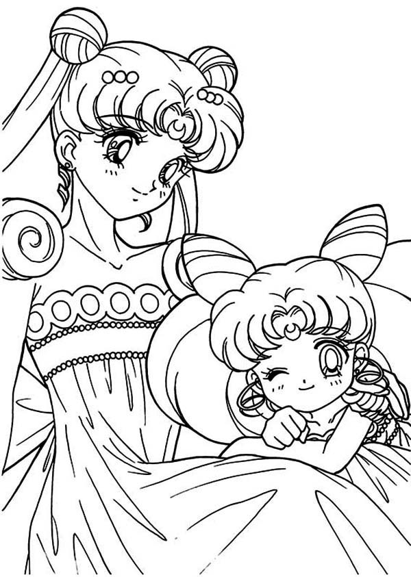 Sailor Moon, : The Loving Sailor Moon and Sailor Chibi Moon Coloring Page