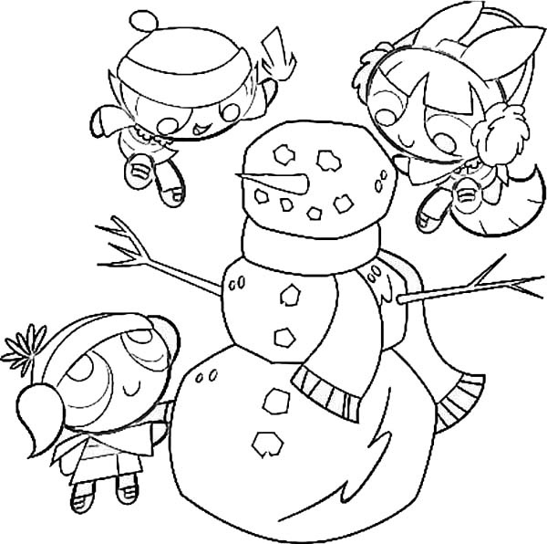 The Powerpuff Girls, : The Powerpuff Girls Making Snowman Coloring Page