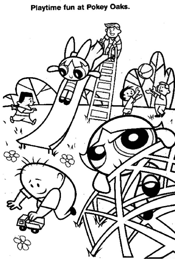The Powerpuff Girls, : The Powerpuff Girls Playtime Fun at Pokery Oaks Coloring Page