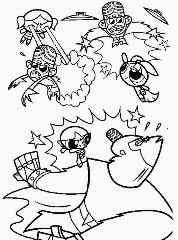 The Powerpuff Girls, : The Powerpuff Girls and Mojo Jojo are Enemies Coloring Page
