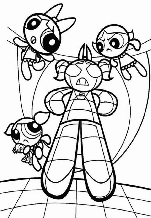The Powerpuff Girls, : The Powerpuff Girls and Robot of Bubbles Coloring Page