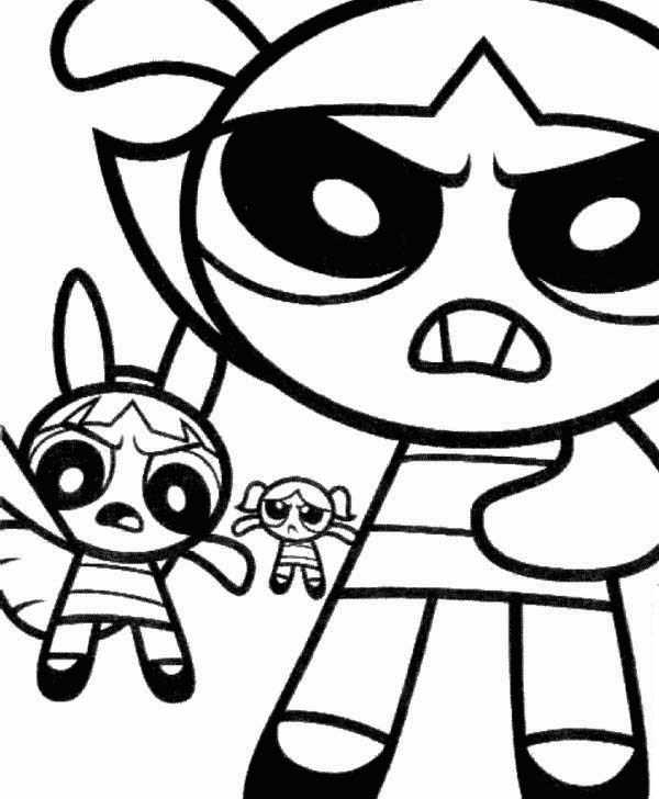 The Powerpuff Girls, : The Powerpuff Girls are Angry Coloring Page