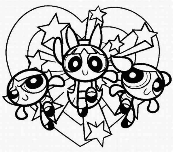The Powerpuff Girls, : The Powerpuff Girls is Full of Love Coloring Page