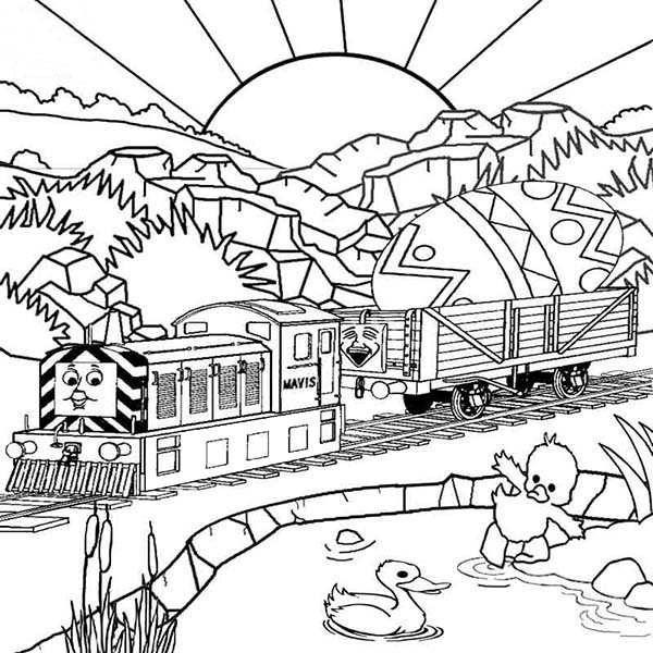 railroad thomas the tank engine carrying easter egg on railroad coloring page