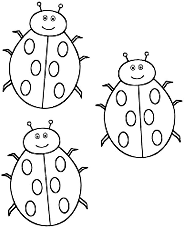 Three cute lady bug coloring page color luna for Cute ladybug coloring pages