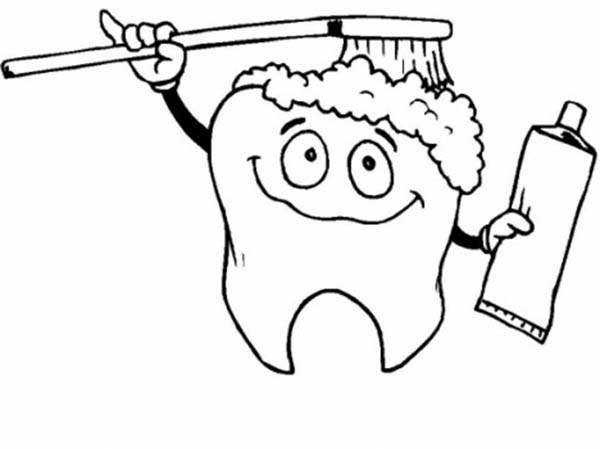 Tooth brushing himself in dental health coloring page