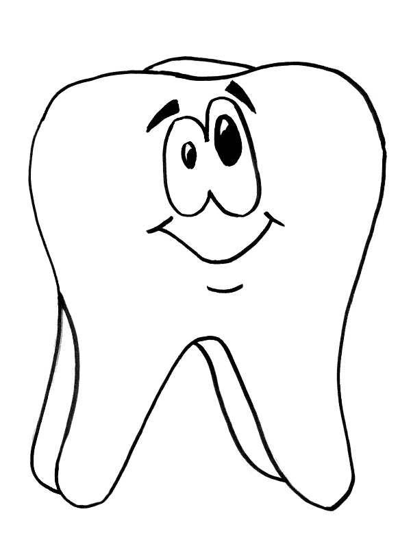 Tooth is smiling in dental health coloring page