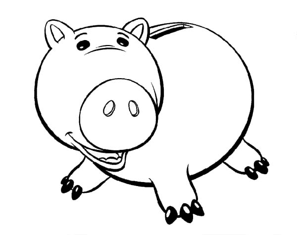 Piggy Bank, : Toy Story Fat Piggy Bank Coloring Page