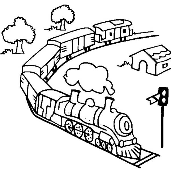 Railroad, : Toy Train on Railroad Coloring Page